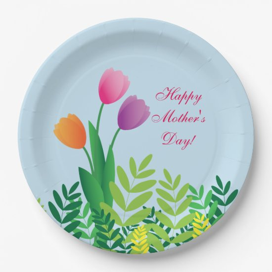 Colorful Tulips, Happy Mother's Day Paper Plate