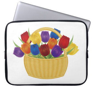 Colorful Tulips in Basket Electronics Bag
