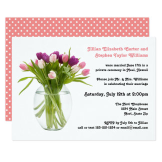 Colorful Tulips in Vase - 3x5 Wedding Announcement