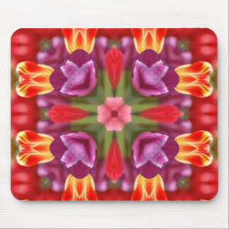 Colorful Tulips Kaleidoscope Mouse Pad