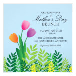 """Colorful Tulips Mother's Day Brunch 5.25"""" Square Invitation Card"""