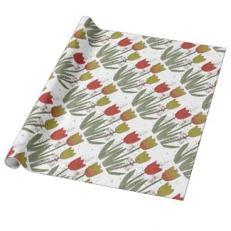 Colorful tulips on white bckgrnd, wrapping paper