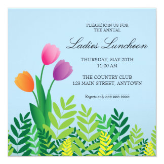 Colorful Tulips Spring Luncheon Card