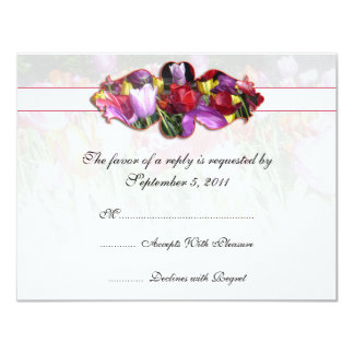 Colorful Tulips Wedding RSVP Invite