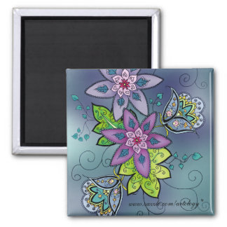 Colorful Tulps Magnet (square)