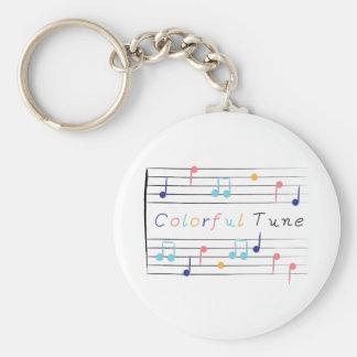 Colorful Tune Basic Round Button Keychain