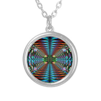 Colorful tunnel round pendant necklace
