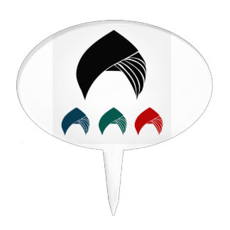 Colorful turbans or headgear cake topper