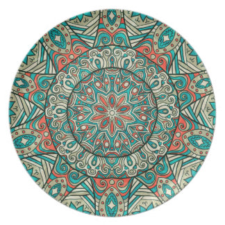 Colorful Turkish Inspired Geometric Circle Lace 2 Party Plates