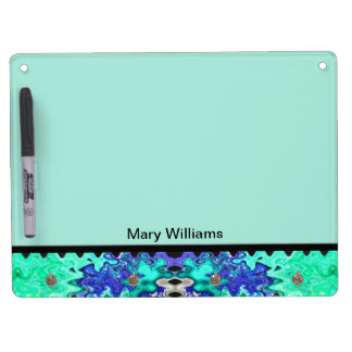 Colorful turquoise blue abstract dry erase board with keychain holder