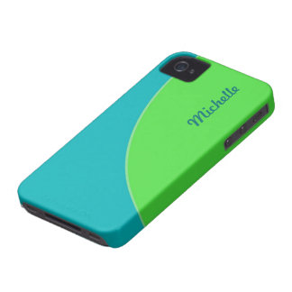 Colorful Turquoise Blue Green Modern Circle iPhone 4 Case-Mate Case