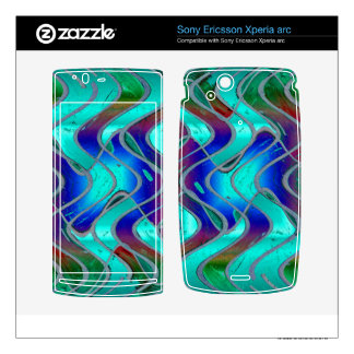 Colorful turquoise green pattern xperia arc skins