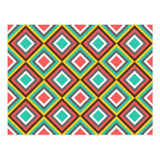 Colorful Turquoise Pink Aztec Native American Gift Postcard