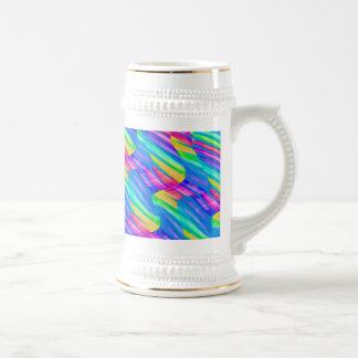 Colorful Turquoise Rainbow Wave Twists Artwork Beer Stein