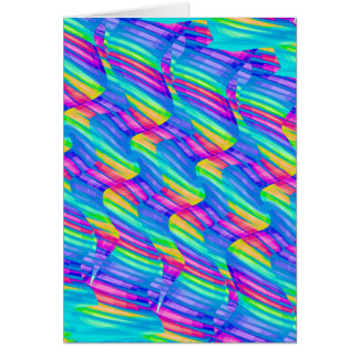 Colorful Turquoise Rainbow Wave Twists Artwork Cards