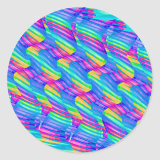 Colorful Turquoise Rainbow Wave Twists Artwork Classic Round Sticker