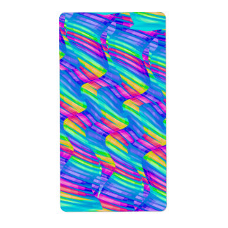 Colorful Turquoise Rainbow Wave Twists Artwork Label