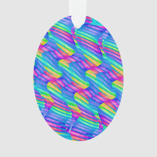 Colorful Turquoise Rainbow Wave Twists Artwork Ornament