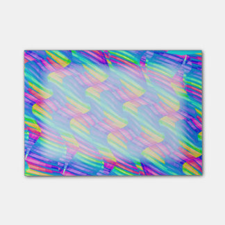 Colorful Turquoise Rainbow Wave Twists Artwork Post-it® Notes