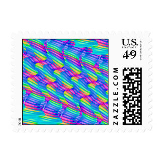Colorful Turquoise Rainbow Wave Twists Artwork Stamps