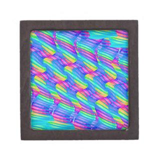 Colorful Turquoise Rainbow Wave Twists Artwork Premium Jewelry Box