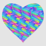 Colorful Turquoise Rainbow Wave Twists Artwork Heart Sticker
