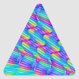 Colorful Turquoise Rainbow Wave Twists Artwork Triangle Sticker