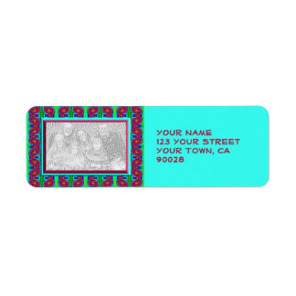 colorful turquoise red photo frame label