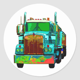 Colorful Turquoise Semi Truck Classic Round Sticker