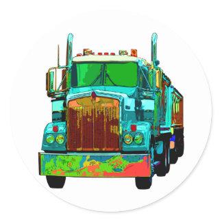 Colorful Turquoise Semi Truck Classic Round Sticker