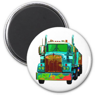 Colorful Turquoise Semi Truck Magnet