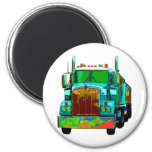 Colorful Turquoise Semi Truck Magnets