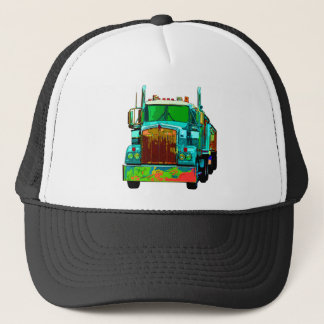 Colorful Turquoise Semi Truck Trucker Hat