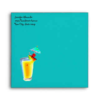 Colorful Turquoise Umbrella Drinks Cocktails Envelope