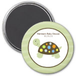 Colorful Turtle 3-inch Round Favor Magnet - Green