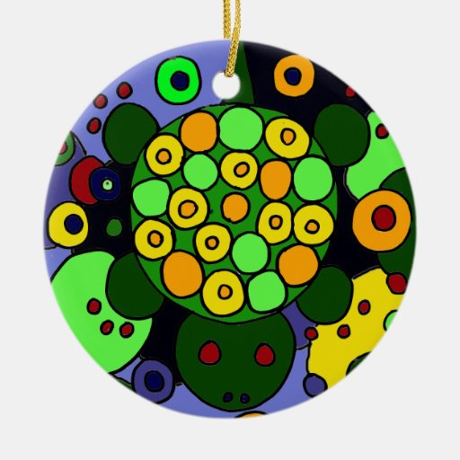 Colorful Turtle and Circles Abstract Art Dedign Double-Sided Ceramic Round Christmas Ornament