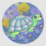 Colorful Turtle & Flowers Stickers