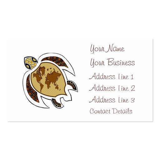 Colorful Turtle On Business Card