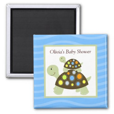 Colorful Turtle Rectangle Favor Magnet - Blue