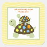 Colorful Turtle SQUARE Favor Sticker - Yellow