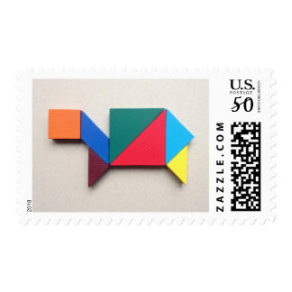 Colorful turtle Tangram Postage