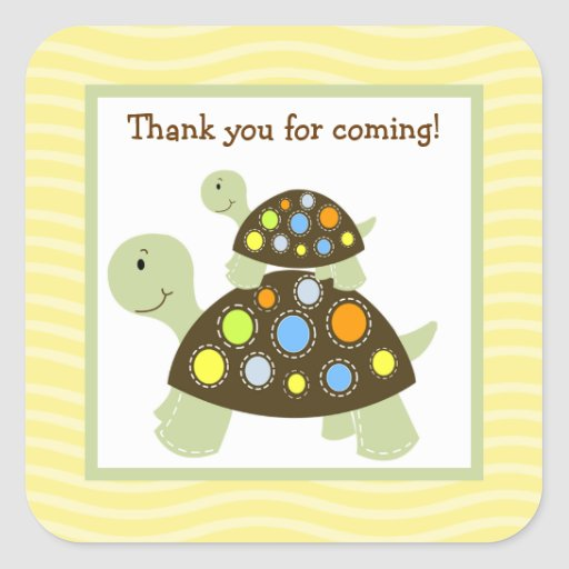 Colorful Turtle (Yellow) Square Envelope Seals 20