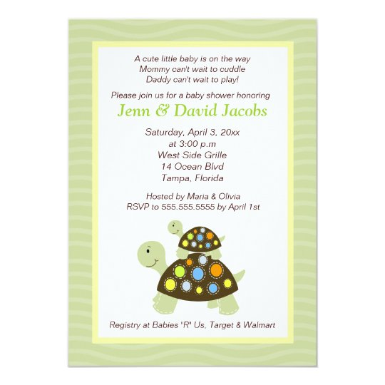 Colorful Turtles 5x7 Baby Shower Invite - Green