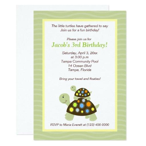 Colorful Turtles 5x7 Birthday Invitation - Green
