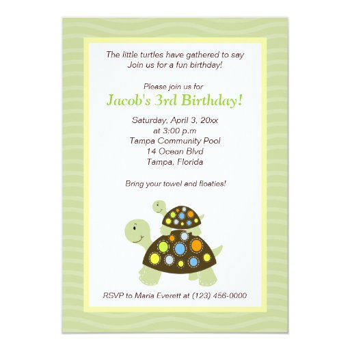 Colorful Turtles 5x7 Birthday Invitation - Green