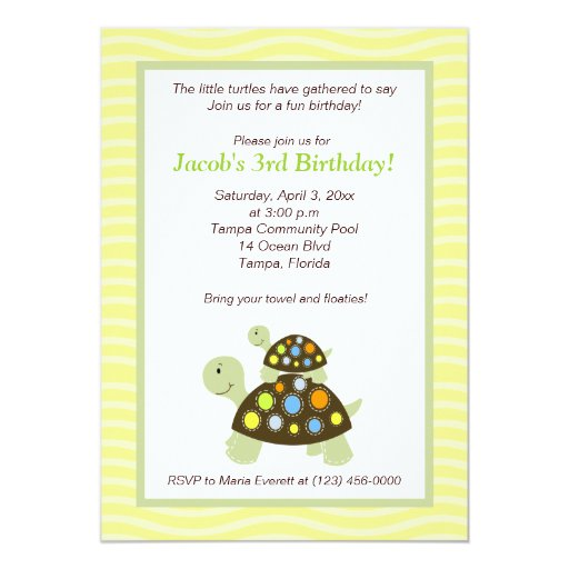 Colorful Turtles 5x7 Birthday Invitation - Yellow