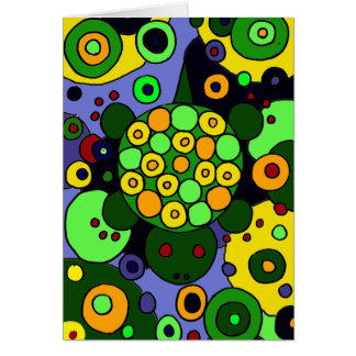 Colorful Turtles and Circles Abstract Art Greeting Card