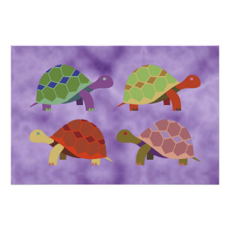 Colorful Turtles Art Poster for Baby Nursery