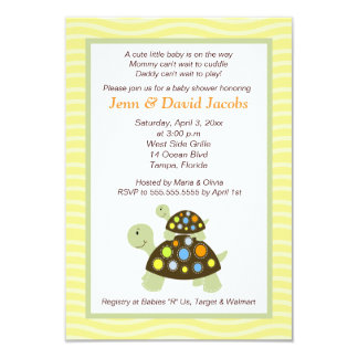 Colorful Turtles Baby Shower Invitation (Yellow)
