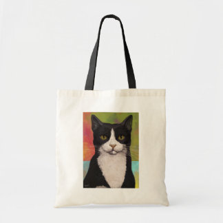 Colorful Tuxedo Cat Budget Tote Bag